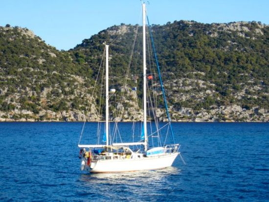 Sharki anchored in Kerkova Roads, Turkey