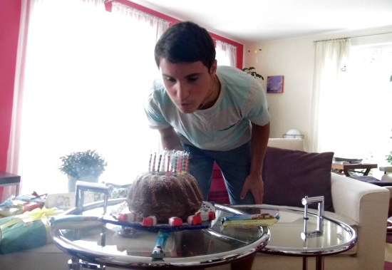 Sol blowing out his 14 candles