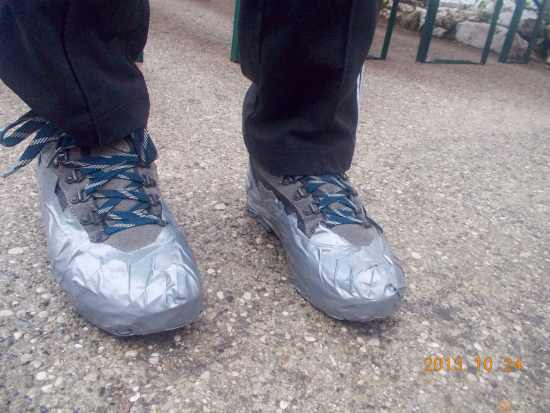 Sol's taped hiking boots