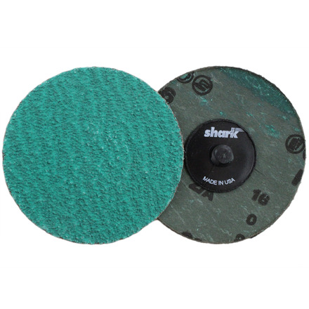 Mini Grinding Discs with Twist-to-Lock Backing – Green Zirconia 3″ 80 Grit. 25 pack.