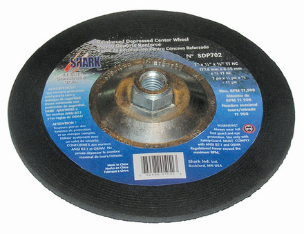 Grinding Wheels Type 27- Zirconia 7″x 1/4″ x 5/8-11 – 24 Grit. 1 pack.