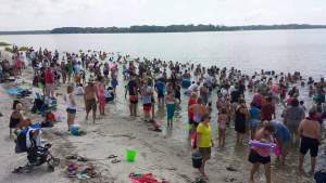 First shark tooth hunt at Sands Beach with 300 people