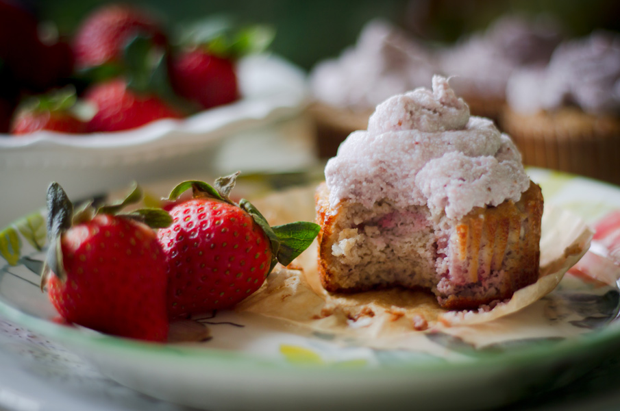 Paleo Strawberry Muffins with Strawberry Frosting