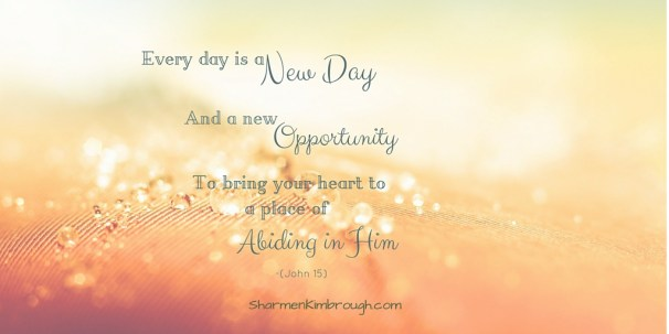 Every day is a new day, and a new opportunity to bring your heart to a place of abiding in Him.