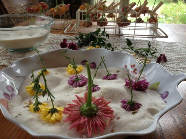 After the flowers come out of microwave- shake off crystals and hang with clothes pins on a drying rack