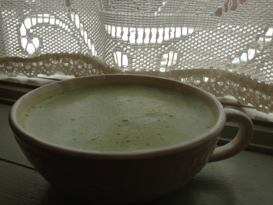 A cup of green matcha tea is delicious- I add a little frothed raw goat milk- Green tea is very alkaline and goat milk is low alkaline. I could add a little raw honey to this and it would still be alkaline