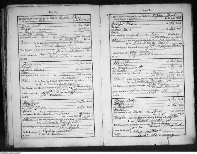 1818 parish register
