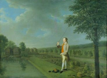 Francis Popham angling in a garden pond, by Arthur Devis (1711-1787)