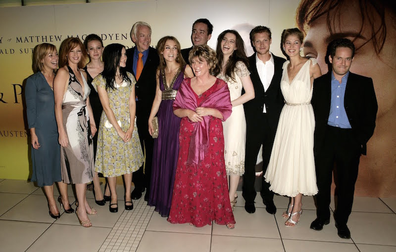 "LONDON - SEPTEMBER 05: (UK TABLOID NEWSPAPERS OUT) (L to R) The cast, actors Claudie Blakley, Kelly Reilly, Carey Mulligan, Jena Malone, Donald Sutherland, Keira Knightley, Matthew MacFadyen, Brenda Blethyn (front), Talulah Riley, Simon Woods, Rosamund Pike and Tom Hollander arrive at the UK Premiere of the film ""Pride & Prejudice"" at the Odeon Leicester Square on September 5, 2005 in London, England. (Photo by Dave Hogan/Getty Images)"