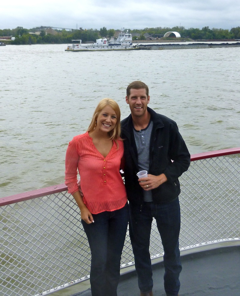 Emily and Neil, on the stern of the riverboat.