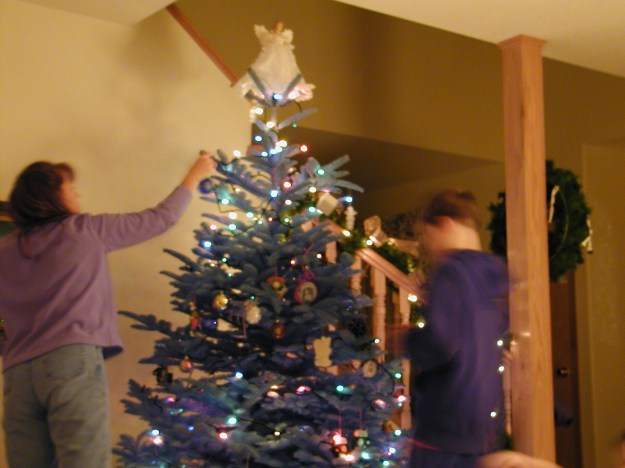 Tree trimming is a family activity