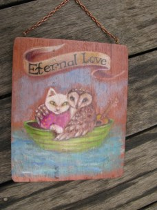 Owl and the Pussy Cat nursery rhyme piece painted on wood.