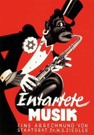 Poster for the Exhibition showing the bad influence of Afro-American Jazz
