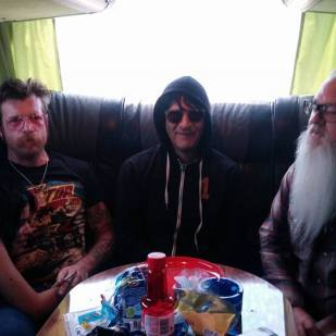Jesse, Tuesday, Eden and Dave - back of the bus