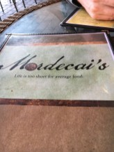 Mordecai menu front