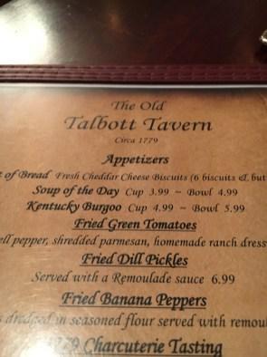 Talbott Tavern Menu