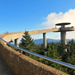 The Tower at Clingman's Dome (6,643 ft) in the Smoky Mountains. Remembering and missing 2nd highest point east of the Mississippi River. The clear day allowed 360 degrees of stunning views into Tennessee and North Carolina.