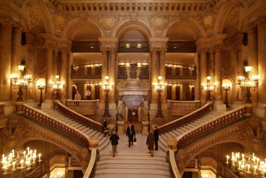 stairs inside the opera at the palais garnier paris