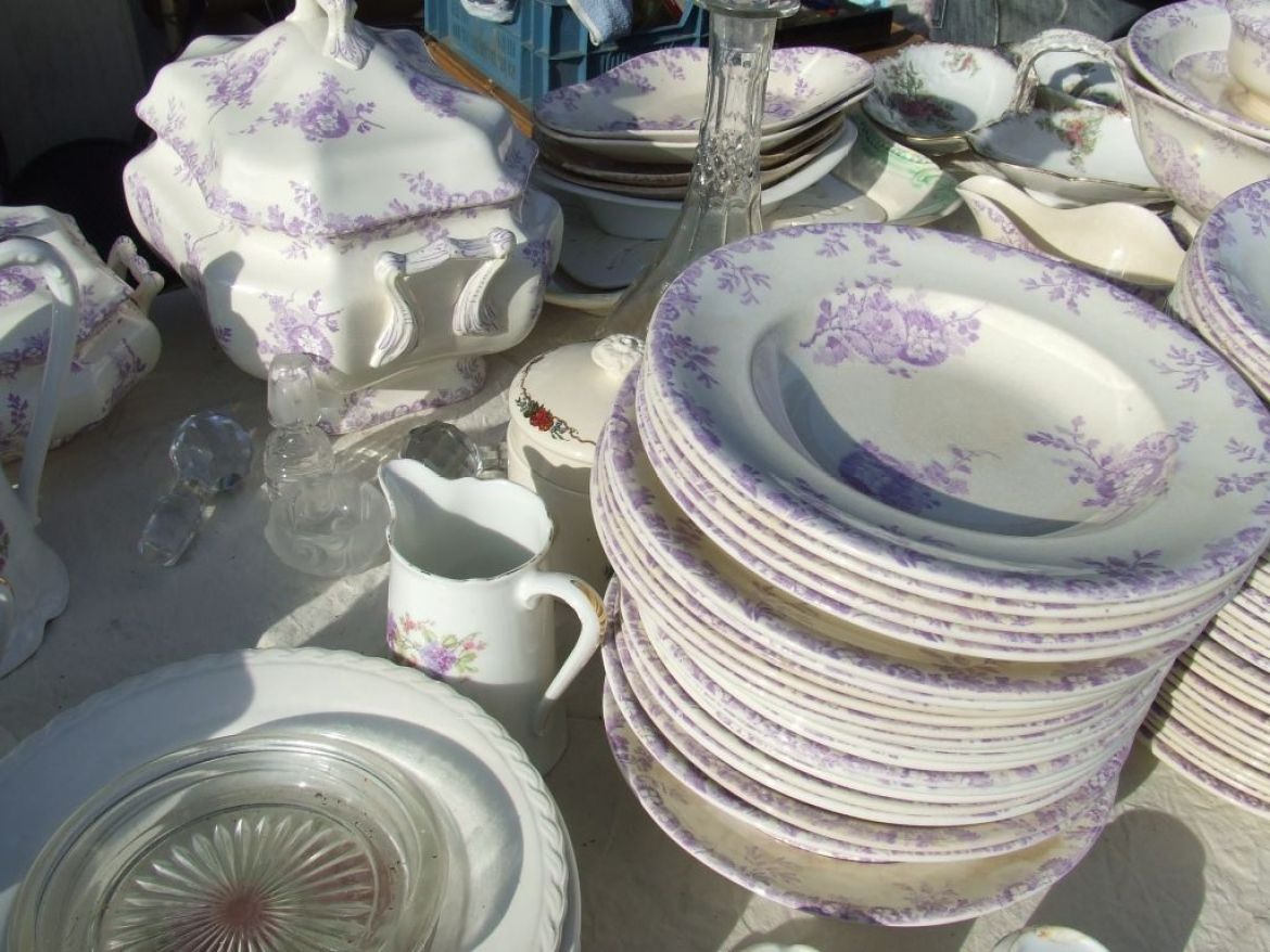 mauve and white transfer ware, antique china