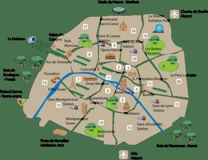 map paris arrondissements