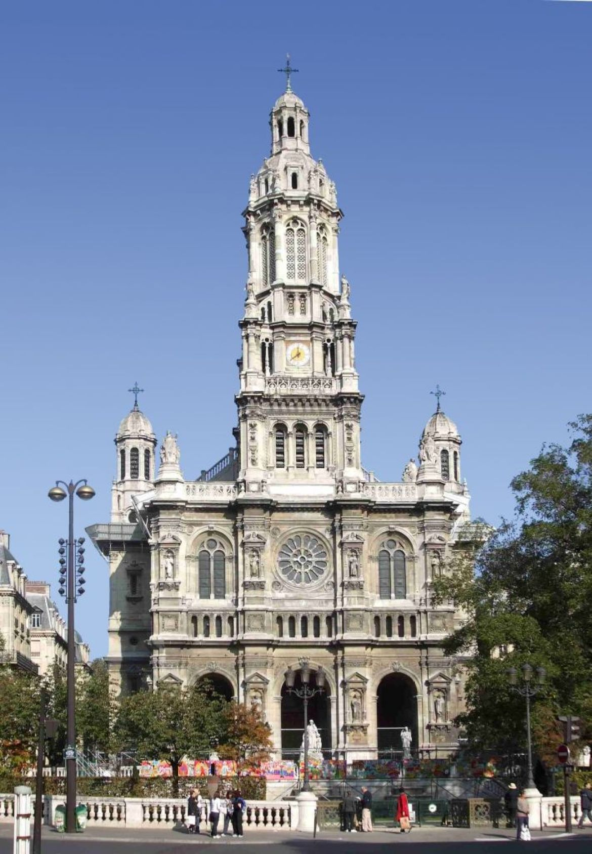 tall church facade, st trinité, paris