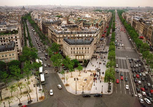 view over champs elysees from arc de triomphe