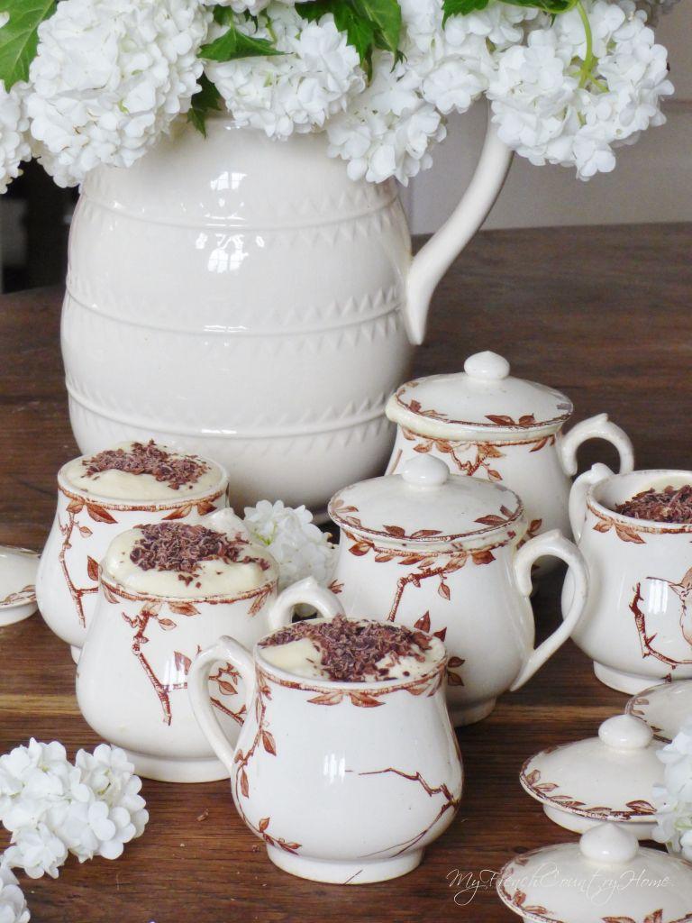 cream pots filled with tiramisu