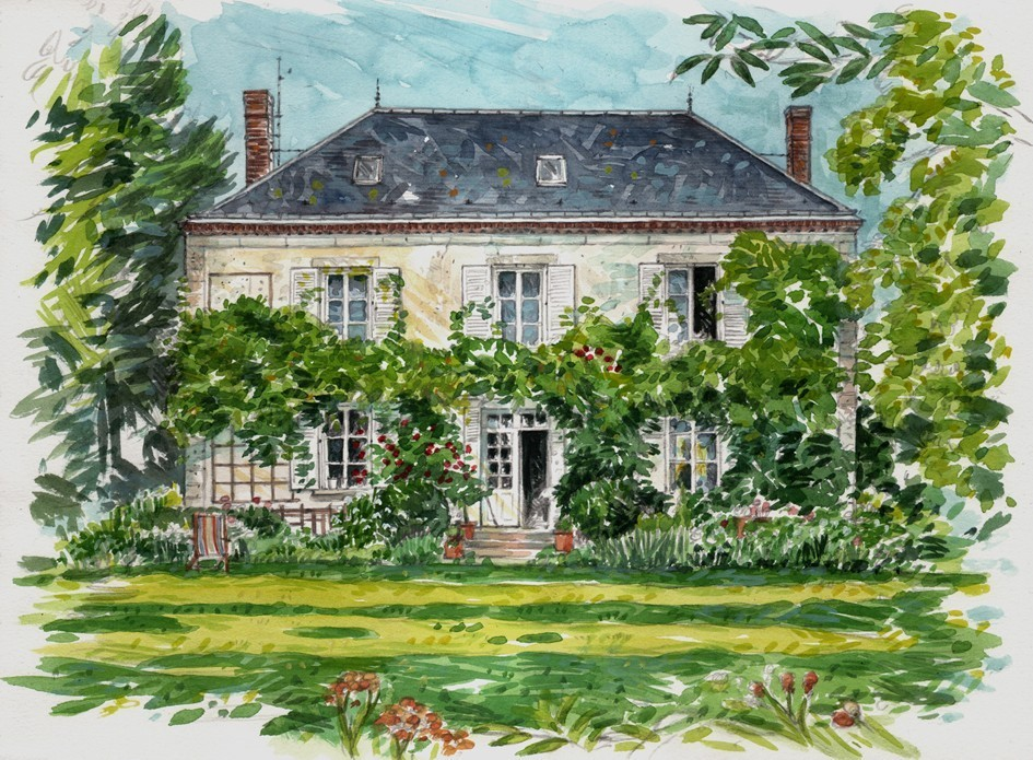 watercolour of my french country home by celine chollet