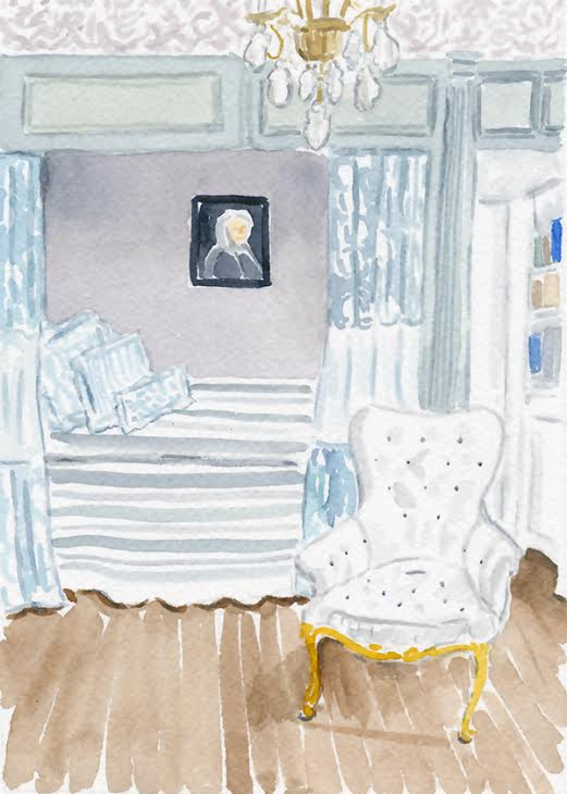 watercolour french bedroom