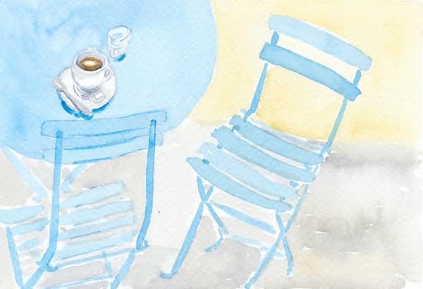 watercolour blue chairs