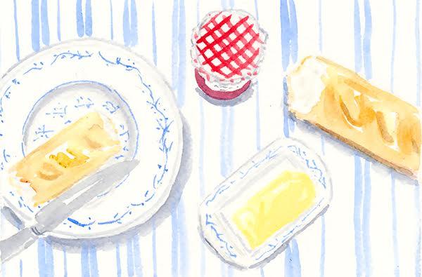 watercolour breakfast table