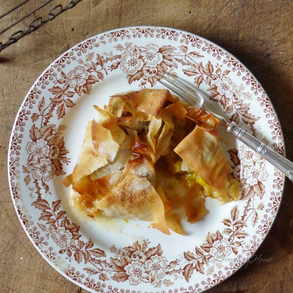 plum tart on a plate