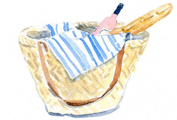 watercolour bread in market basket