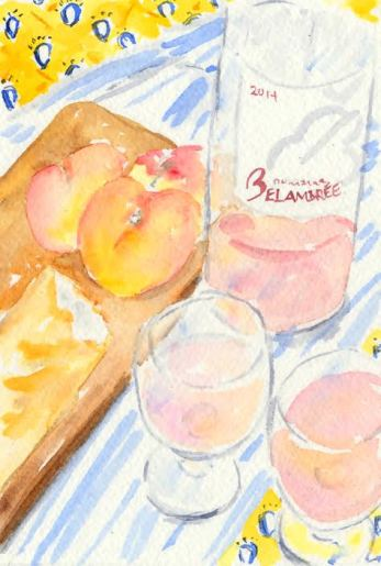watercolour peaches and wine