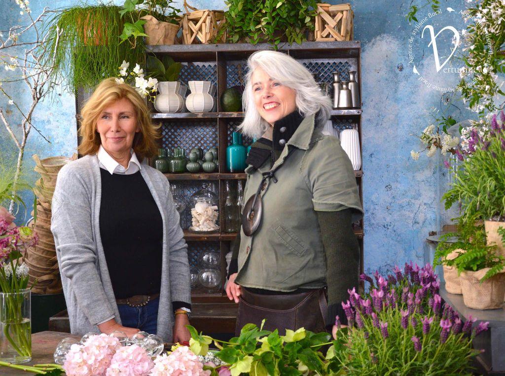 sharon santoni and clarisse beraud in flower workshop