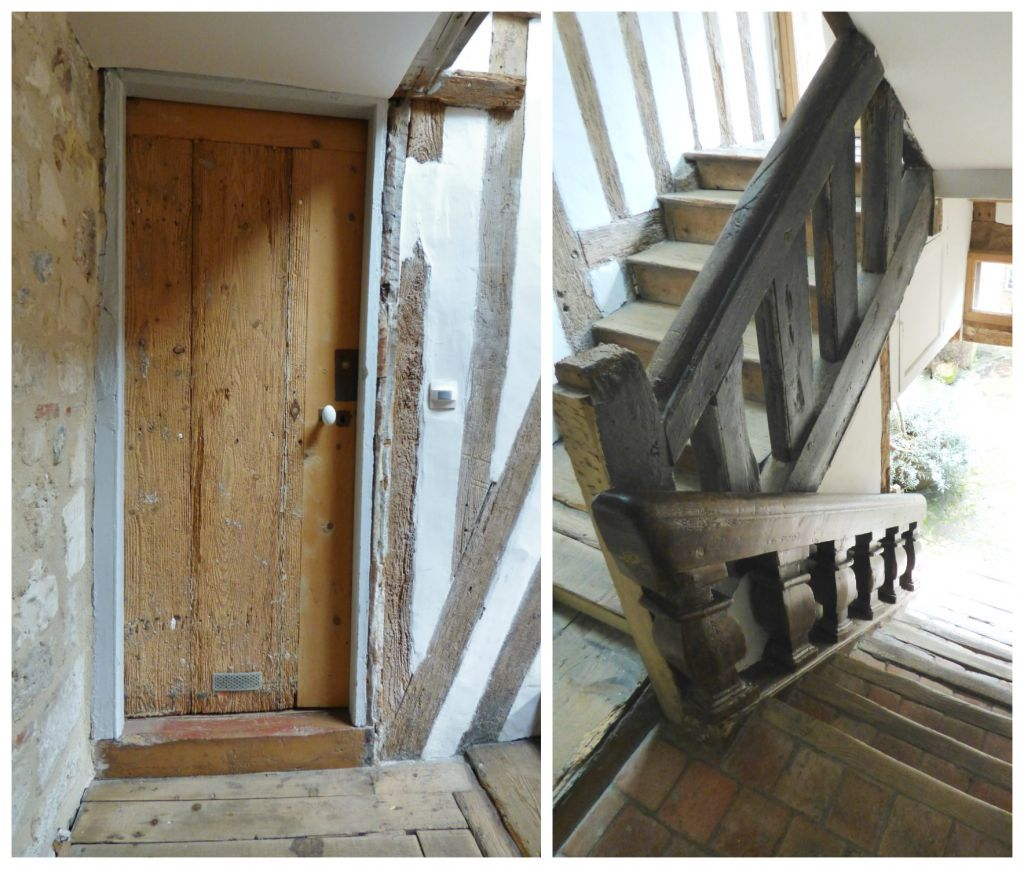 old door and timbered stairwell