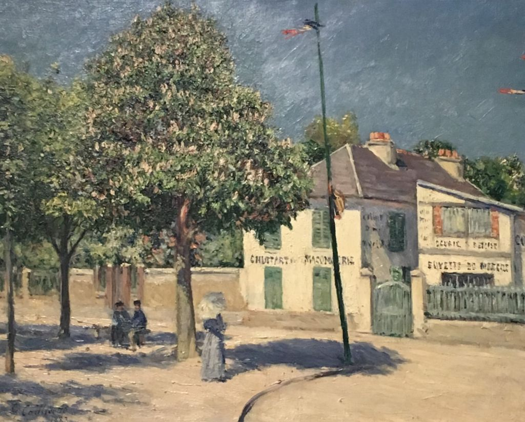 painting of french village square