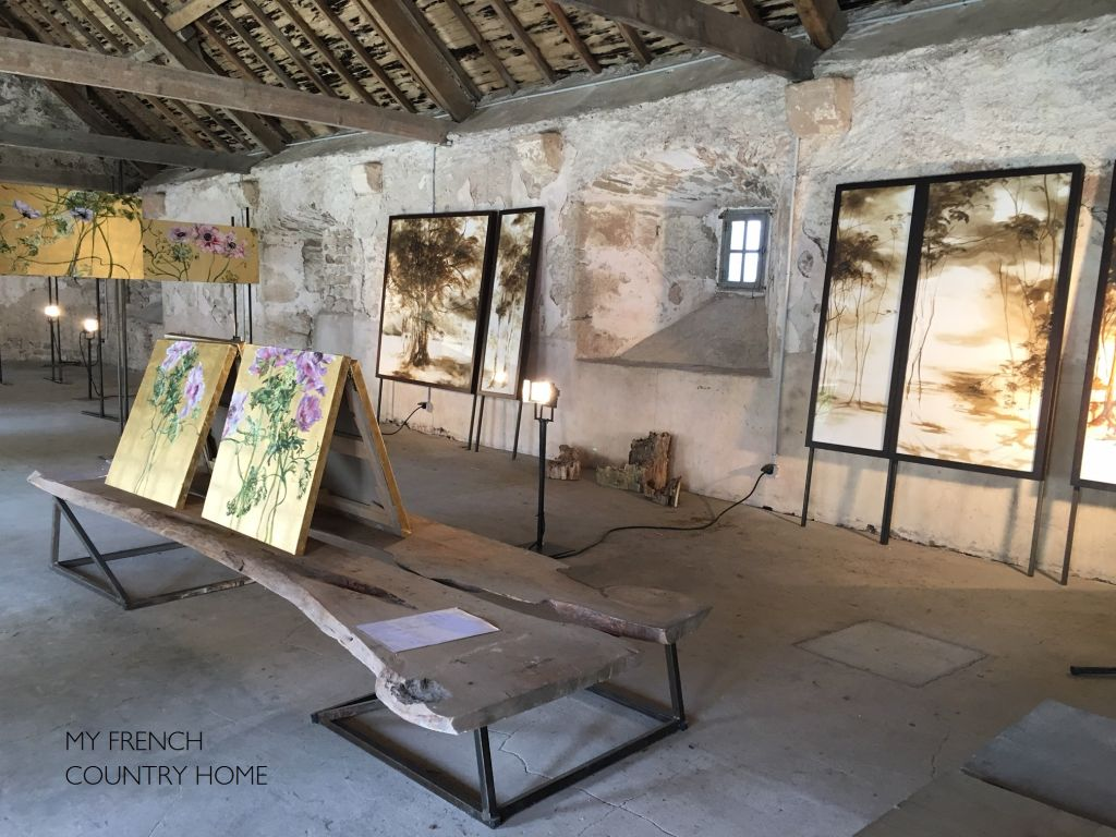 artwork displayed in barn attic