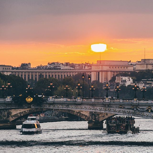 sunset over river in paris