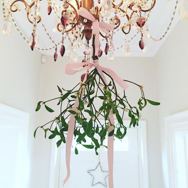 mistletoe on chandelier