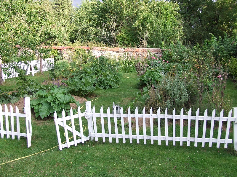 vegeatable garden with white fence