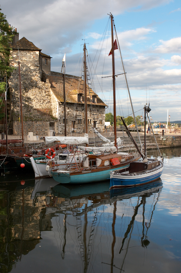 fishing boats in the harbor of honfleur