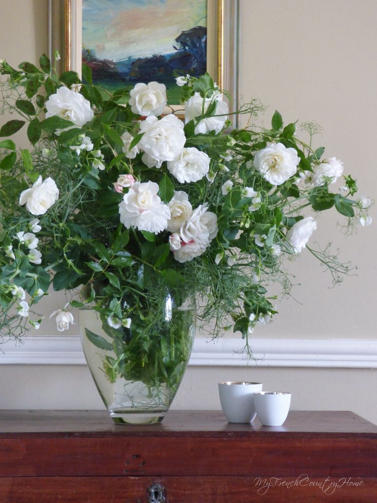 white roses and peas