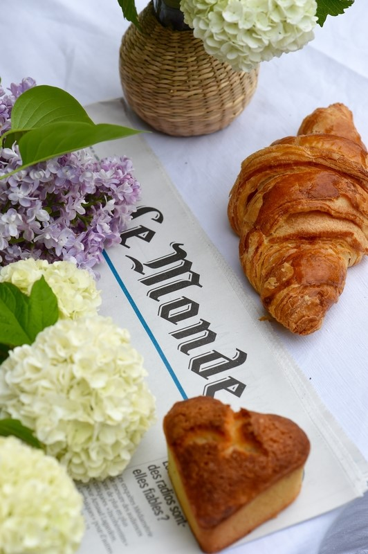 croissant and newspapers