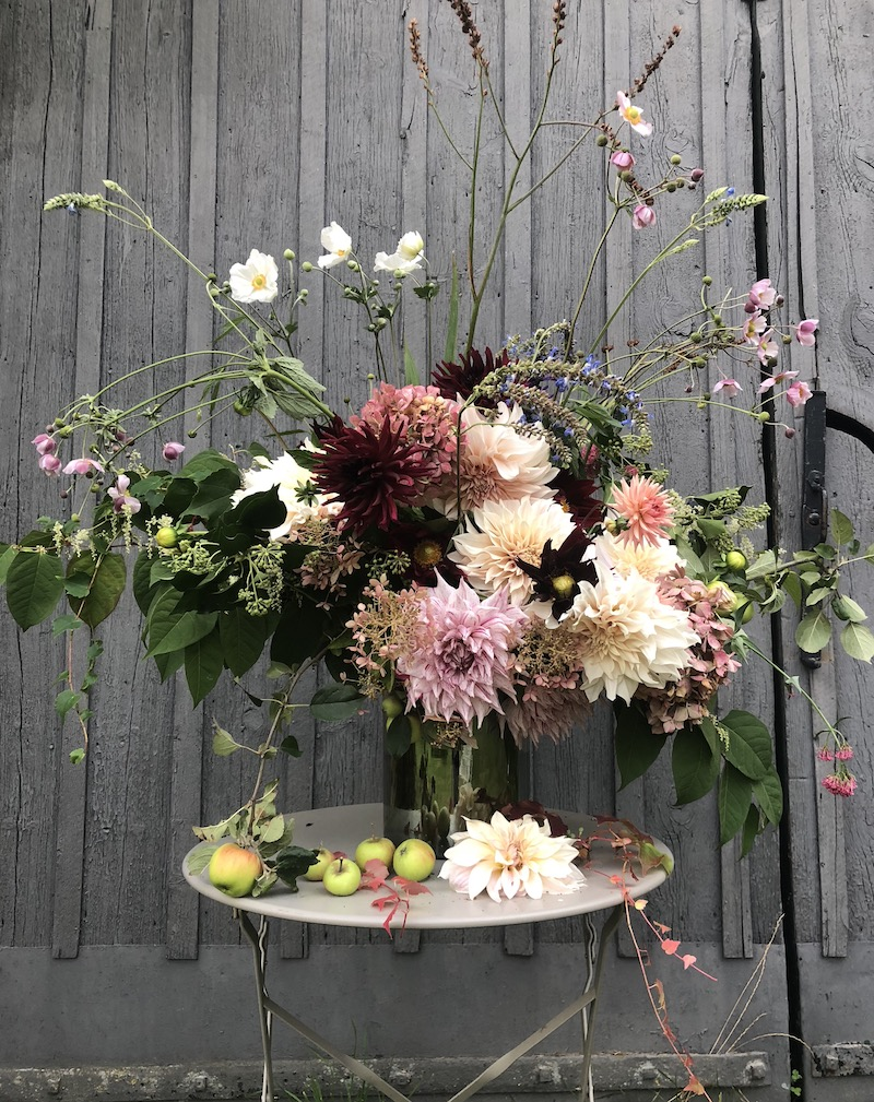 autumn flowers arranged in vase outside barn- early autumn in my garden- MY FRENCH COUNTRY HOME
