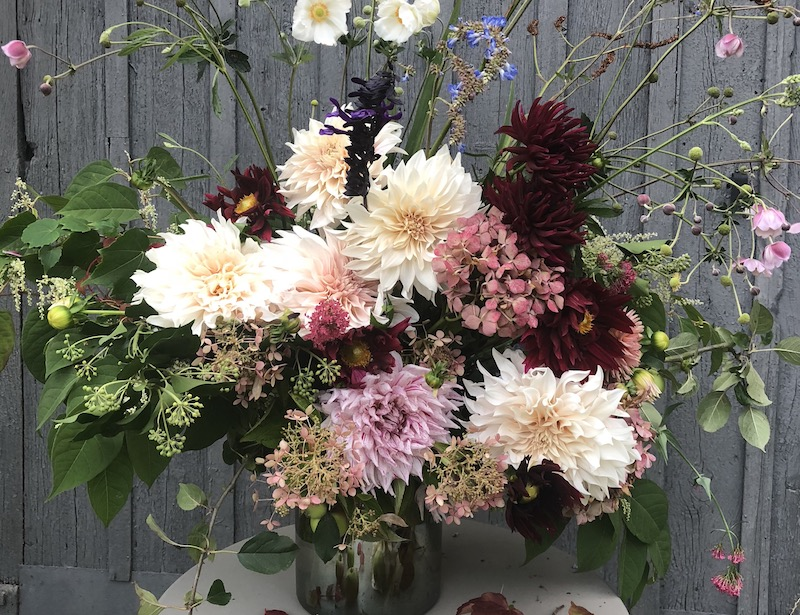 autumn flowers arranged in vase outside barn- MY FRENCH COUNTRY HOME