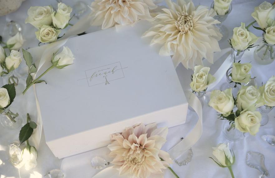 my stylish french box with dahlias