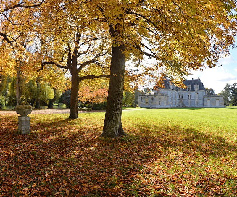 chateau in the fall in normandy