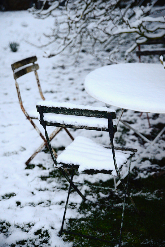Chairs in the garden covered in snow- looking forward to christmas with the family- MY FRENCH COUNTRY HOME