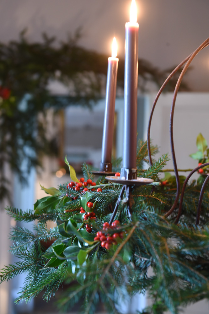 Holly decorations on candlesticks- red christmas decoration ideas- MY FRENCH COUNTRY HOME